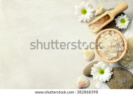 Spa setting with sea salt, top view
