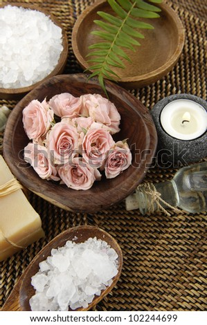 Spa Settings-bowl of salt ,rose ,fern, candle, soap on mat