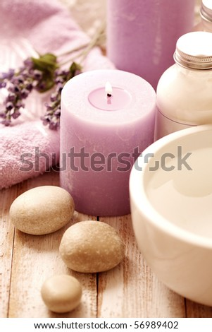 SPA still life. aromatherapy candle and bath products