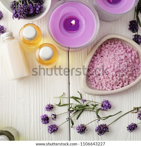 SPA still life. cosmetics and aromatherapy candle. flat lay