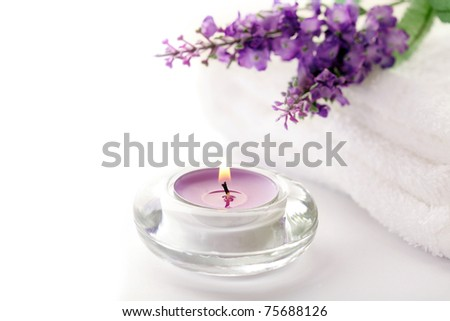 SPA still life. lavender aromatherapy candle