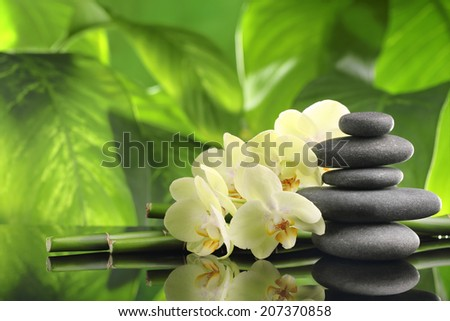 Spa still life with zen stones bamboo and orchid flower