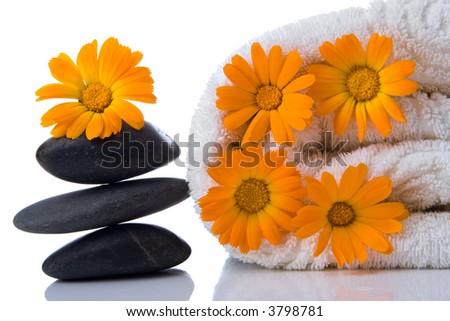 spa stone  flower towel on white