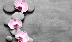 Spa stones and pink orchid on grey background