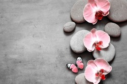 Spa stones and pink orchid on grey background and butterfly. Spa concept. Top view.