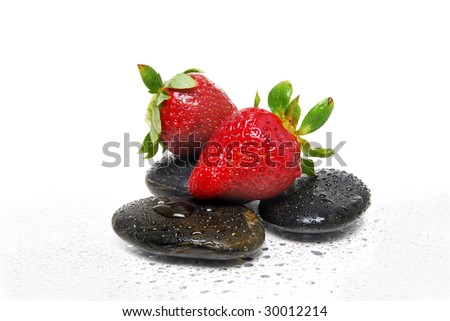 spa stones and strawberry