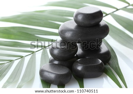 Spa stones on green palm leaf isolated on white