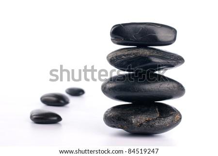 Spa stones on white background