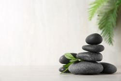 Spa stones with branch on light background. Space for text