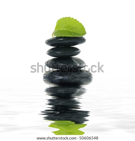 Spa stones with leaf reflection - stock photo