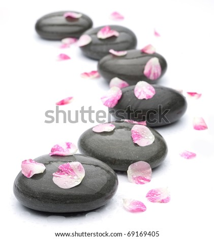 Spa stones with rose petals on white background.