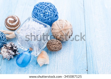 Spa stuff with sea salt and shell #345087125