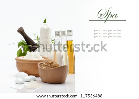 spa theme object on white background. banner. lots of copy space.