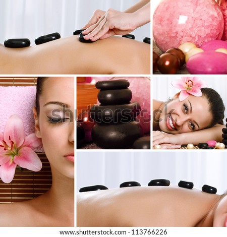 Spa theme photo collage composed of different images