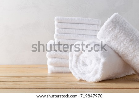 spa towels on wooden surface Foto stock ©