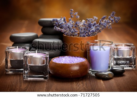 Spa treatment - hot stones and spa minerals - stock photo