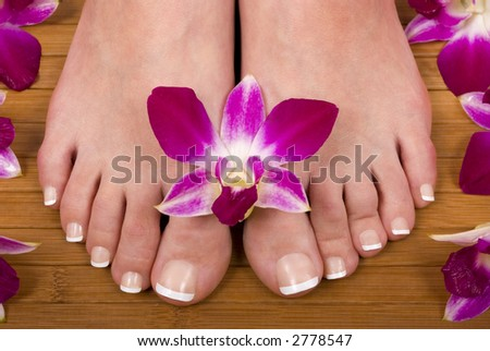 Spa treatment with fresh beautiful orchids