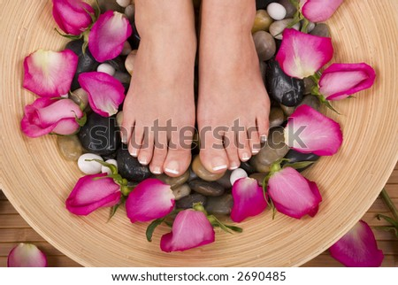 Spa treatment with fresh beautiful roses