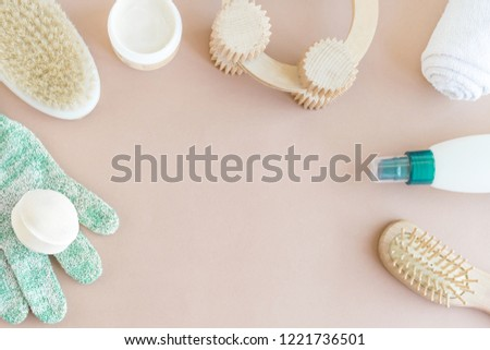Spa wellness beauty mock up, flat lay of various beauty care products on pastel background, blank space for your text. Cosmetics and bathroom tools SPA mock-up