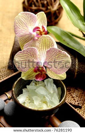 spa. welness products –green candle, white orchid ,stones, Spa salt - stock photo