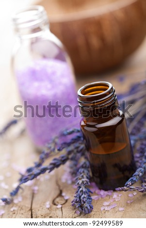 spa with lavender oil and salt