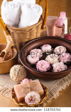 Spa with roses, manicure, relaxing bath and cosmetics