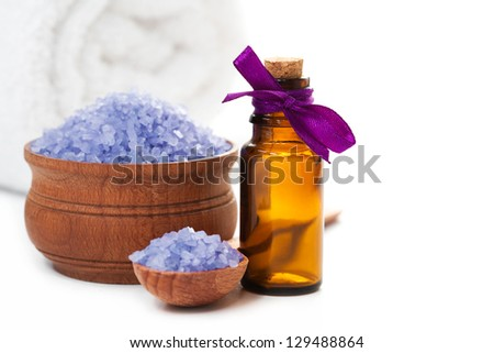 Spa with sea salt and towel