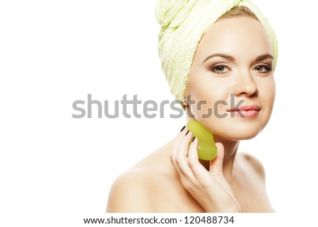 Spa Woman. Beautiful Girl With Ginger Hair After Bath Touching Her Face With Green Soap. Perfect Skin. Skincare. Young Skin. Studio Shot