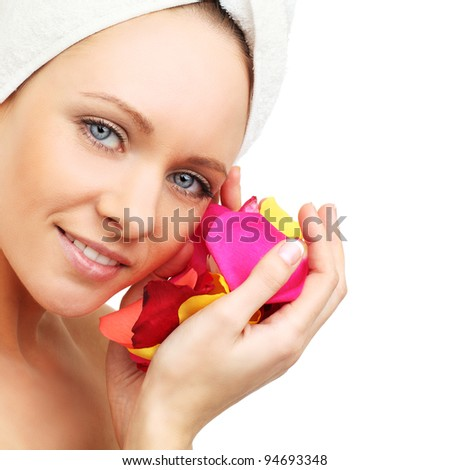 Spa woman - beauty face isolated on white