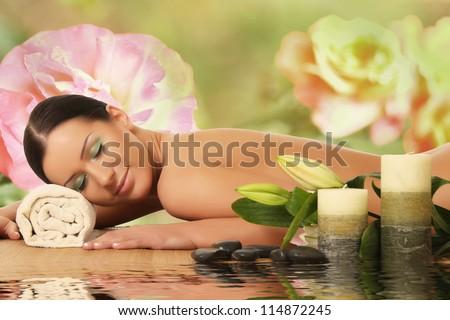 spa woman. spa salon - stock photo