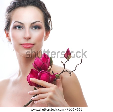 Spa Woman with Spring Flowers.Isolated on White. Spa. Skincare - stock photo