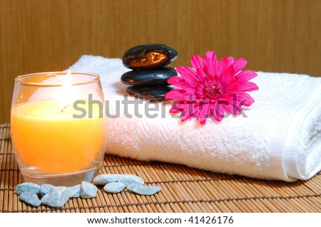 spa, zen and wellness still life with flowers and stones