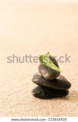 Spa zen stones with leaf on sand still nature