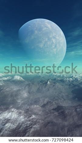 Space Art: Foggy Alien Planet frozen world - 3D Rendering