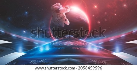 Space background, abstract futuristic fantasy space. Blue neon light, galaxy. Abstract fantastic space of the Universe. Neon portal of the cosmic galaxy. Elements of this image furnished by NASA. 3d