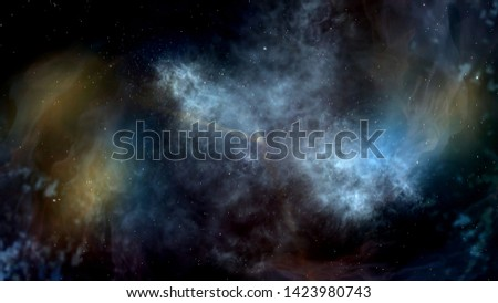 Space background. Infinite Universe. Exploration of Universe. 3d rendering