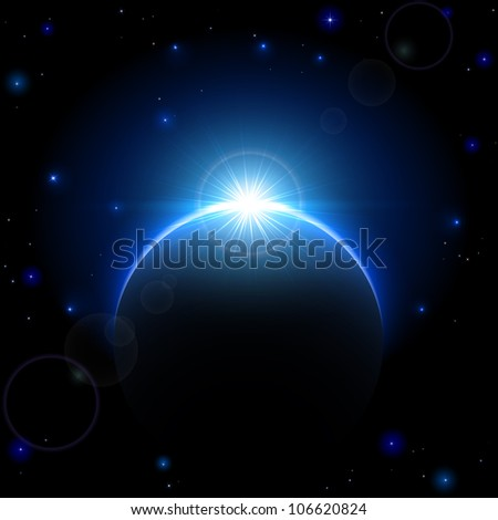 Space background with planet and shining sun, illustration. - stock photo
