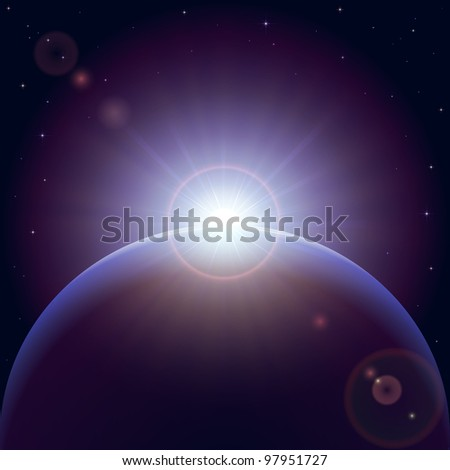 Space background with planet and shining sun, illustration.