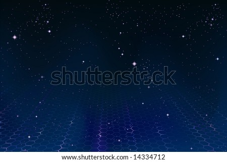 Space background with pulsating hexagonal net fading into the distance