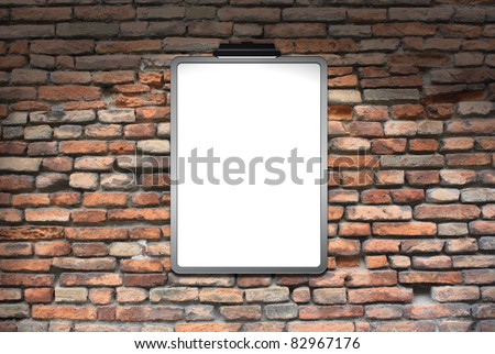 Space brick wall with posters of the lighthouse lit