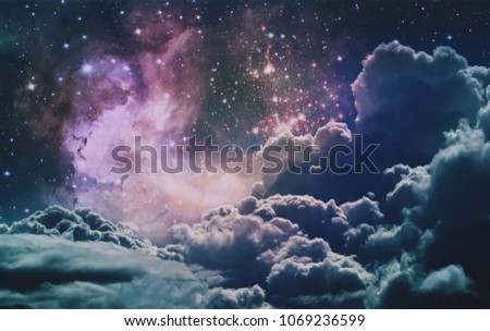 Space Clouds Background Vintage Color Wallpaper Fantastic Art