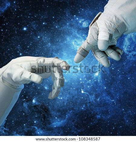 Space conquest. Concept (Collage from images from www.nasa.gov) - stock photo
