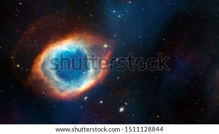 Space cosmic background of supernova nebula and stars field with copyspace