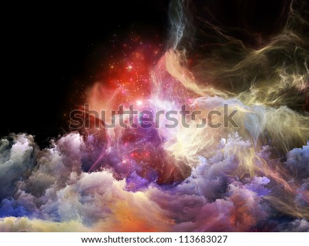 Space Dance Series. Abstract design made of nebulous textures, lights and gradients on the subject of astronomy, imagination, fantasy and creativity