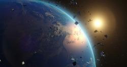 Space debris around planet Earth
