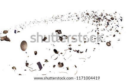 space debris in Earth orbit, dangerous junk isolated on white background