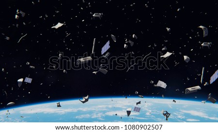 space debris in Earth orbit, dangerous junk orbiting around the blue planet (3d illustration, elements of this image are furnished by NASA) Сток-фото ©