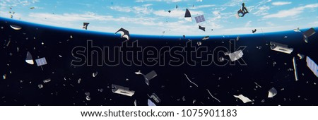 space debris in Earth orbit, dangerous junk orbiting around the blue planet (3d illustration banner, elements of this image are furnished by NASA) Сток-фото ©