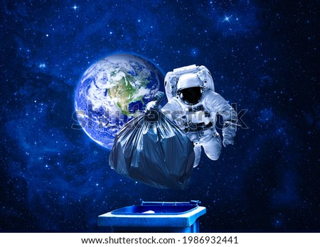 Space debris, pollution of the atmosphere. Debris in space and an astronaut. Astronaut collecting garbage in space. 3D illustration. Сток-фото ©