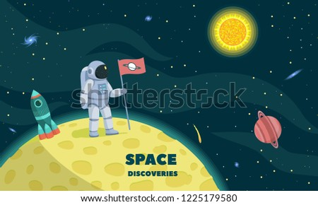 Space discoveries concept background. Flat illustration of space discoveries concept background for web design